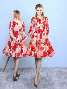 Attractive Printed Scoop 3 4 Length Sleeve Lace Up Pattern Vestidos de Damas in Red