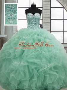 Apple Green Sleeveless Floor Length Beading and Ruffles Lace Up Sweet 16 Dress