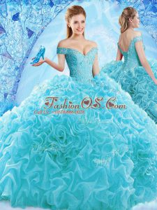 Latest Aqua Blue Ball Gowns Off The Shoulder Cap Sleeves Organza Brush Train Lace Up Ruffles and Pick Ups Quinceanera Dress