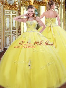 Smart Sleeveless Beading and Appliques Lace Up Quinceanera Gowns