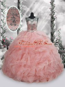 High Class Baby Pink Scoop Lace Up Beading and Ruffles Quinceanera Gown Sleeveless
