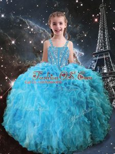 Spectacular Aqua Blue Straps Lace Up Beading and Ruffles Girls Pageant Dresses Sleeveless