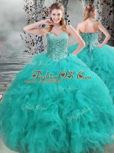 Turquoise Lace Up Sweetheart Beading and Ruffles Quinceanera Gown Organza Sleeveless