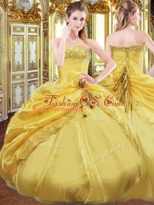 Strapless Sleeveless Taffeta Quince Ball Gowns Beading and Pick Ups Lace Up