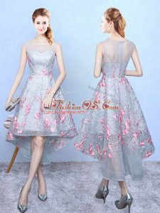 Customized Multi-color A-line Square Sleeveless Organza High Low Zipper Embroidery Dama Dress for Quinceanera