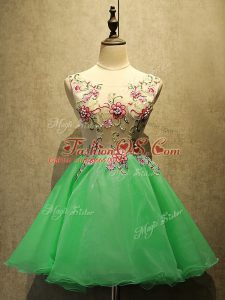 Mini Length Lace Up Prom Evening Gown Green for Prom and Party with Embroidery