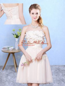 Appliques Wedding Guest Dresses Champagne Lace Up Sleeveless Knee Length