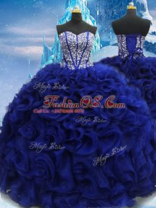 Flare Fabric With Rolling Flowers Sleeveless Floor Length Vestidos de Quinceanera and Beading