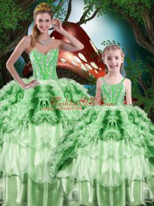 Organza Sweetheart Sleeveless Lace Up Beading and Ruffles and Ruffled Layers Sweet 16 Dress in Green