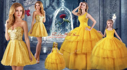 Straps Sleeveless 15 Quinceanera Dress Floor Length Ruffled Layers Gold Organza