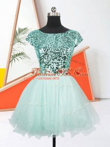 Organza Scoop Short Sleeves Lace Up Sequins Prom Dress in Apple Green