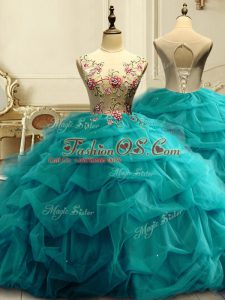 Modest Teal Lace Up Scoop Appliques and Ruffles and Sequins Sweet 16 Quinceanera Dress Organza Sleeveless