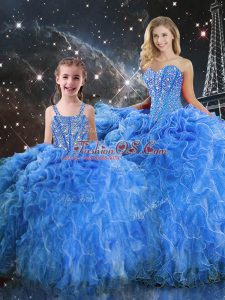 Fantastic Sweetheart Sleeveless Sweet 16 Quinceanera Dress Floor Length Beading and Ruffles Baby Blue Organza