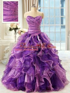 Eggplant Purple Sleeveless Floor Length Beading and Ruffles Lace Up 15th Birthday Dress