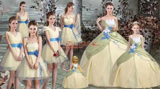 Light Yellow Lace Up Scalloped Hand Made Flower Sweet 16 Dresses Satin Sleeveless