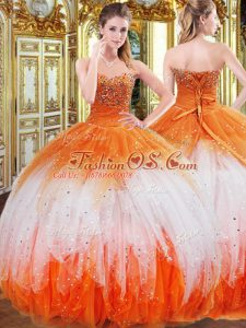 Flare Sleeveless Floor Length Beading and Ruffles Lace Up Sweet 16 Dresses with Multi-color