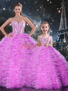 Smart Sleeveless Lace Up Floor Length Beading and Ruffles Quinceanera Dress