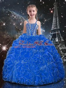 Custom Fit Blue Ball Gowns Straps Sleeveless Organza Floor Length Lace Up Beading and Ruffles Little Girls Pageant Dress Wholesale