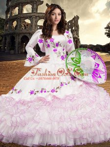 Fancy White Organza Lace Up Sweet 16 Quinceanera Dress Long Sleeves Floor Length Embroidery and Ruffled Layers