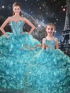 Fabulous Organza Sweetheart Sleeveless Lace Up Beading and Ruffles Quinceanera Dresses in Aqua Blue