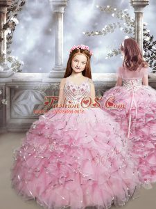 New Arrival Baby Pink Sleeveless Brush Train Beading and Ruffles Little Girl Pageant Dress