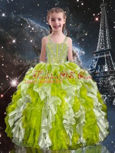 Straps Sleeveless Organza Child Pageant Dress Beading and Ruffles Lace Up