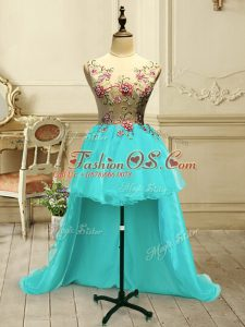 Flare Scoop Sleeveless Lace Up Evening Dress Aqua Blue Organza