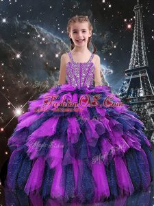 Simple Floor Length Eggplant Purple Little Girl Pageant Dress Tulle Sleeveless Beading and Ruffles