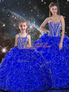 Royal Blue Organza Lace Up Sweetheart Sleeveless Floor Length Sweet 16 Dresses Beading and Ruffles