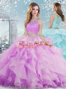 Most Popular Floor Length Lilac Sweet 16 Dress Scoop Sleeveless Clasp Handle