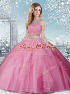 Rose Pink Ball Gowns Tulle Scoop Sleeveless Beading Floor Length Clasp Handle 15 Quinceanera Dress