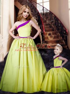 Floor Length Yellow Prom Dresses One Shoulder Sleeveless Lace Up