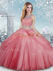 Watermelon Red Sleeveless Tulle Clasp Handle Quinceanera Dress for Military Ball and Sweet 16 and Quinceanera
