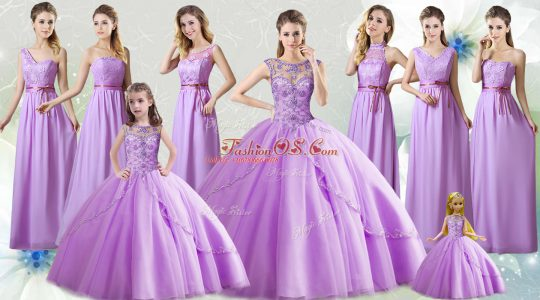 Fashionable Lilac Ball Gowns Beading Quinceanera Gowns Lace Up Tulle Sleeveless Floor Length