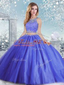 Sumptuous Blue Tulle Clasp Handle Quinceanera Gowns Sleeveless Floor Length Beading and Sequins