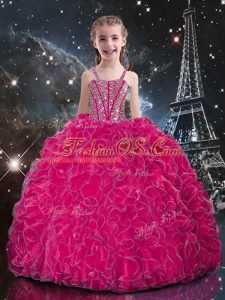 Floor Length Fuchsia Pageant Gowns For Girls Straps Sleeveless Lace Up