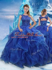 Pretty Beading and Ruffles Quinceanera Dress Blue Lace Up Sleeveless Floor Length