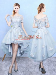 Dramatic Light Blue Off The Shoulder Lace Up Lace Quinceanera Court of Honor Dress Short Sleeves