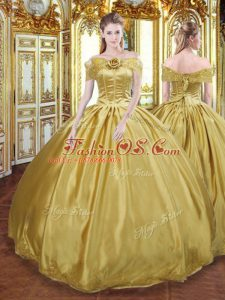 Tulle Sleeveless Floor Length 15 Quinceanera Dress and Beading and Appliques and Hand Made Flower