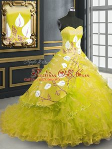 Superior Sweetheart Sleeveless Brush Train Lace Up Vestidos de Quinceanera Yellow Organza