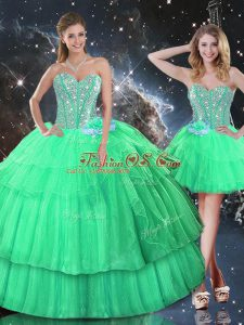 Sexy Apple Green Sweetheart Lace Up Ruffled Layers and Sequins Sweet 16 Quinceanera Dress Sleeveless