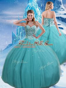 High End Aqua Blue Lace Up Quinceanera Dress Beading and Sequins Sleeveless Floor Length