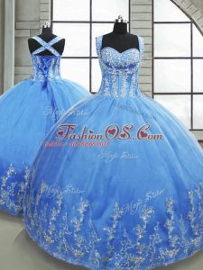 Baby Blue Tulle Lace Up Quinceanera Gowns Sleeveless Floor Length Beading and Appliques