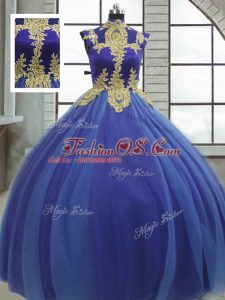 Trendy Royal Blue Sleeveless Tulle Lace Up Quince Ball Gowns for Military Ball and Sweet 16 and Quinceanera