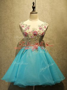 Fantastic Baby Blue A-line Appliques Lace Up Organza Sleeveless Mini Length