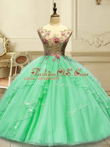 Sumptuous Green Ball Gowns Appliques Quince Ball Gowns Lace Up Tulle Sleeveless Floor Length