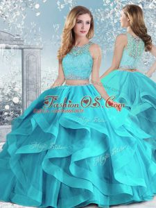 Aqua Blue Sleeveless Organza Clasp Handle Vestidos de Quinceanera for Military Ball and Sweet 16 and Quinceanera