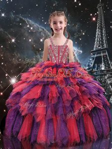 Coral Red Sleeveless Floor Length Beading and Ruffles Lace Up Kids Formal Wear