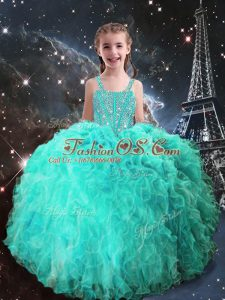 Floor Length Lace Up Kids Formal Wear Turquoise for Quinceanera and Wedding Party with Beading and Ruffles