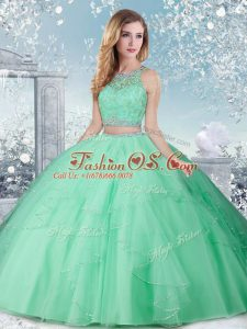 Top Selling Sleeveless Clasp Handle Floor Length Beading 15th Birthday Dress